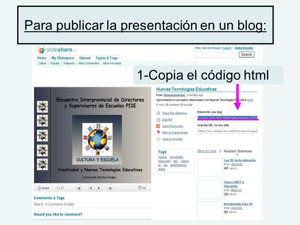 Para publicar la presentación en un blog: