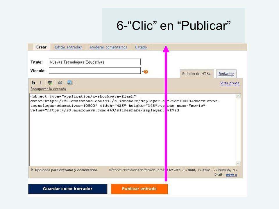 6- Clic en Publicar