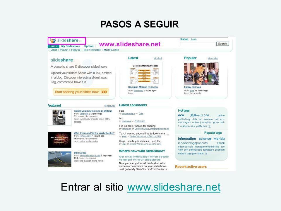 Entrar al sitio www.slideshare.net
