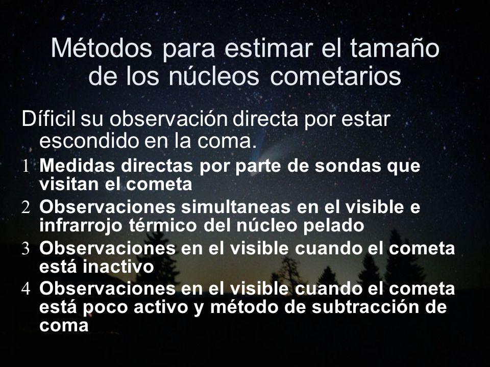 Métodos para estimar el tamaño de los núcleos cometarios