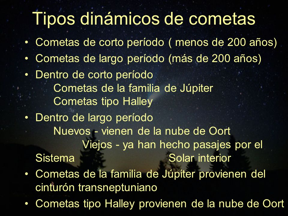 Tipos dinámicos de cometas