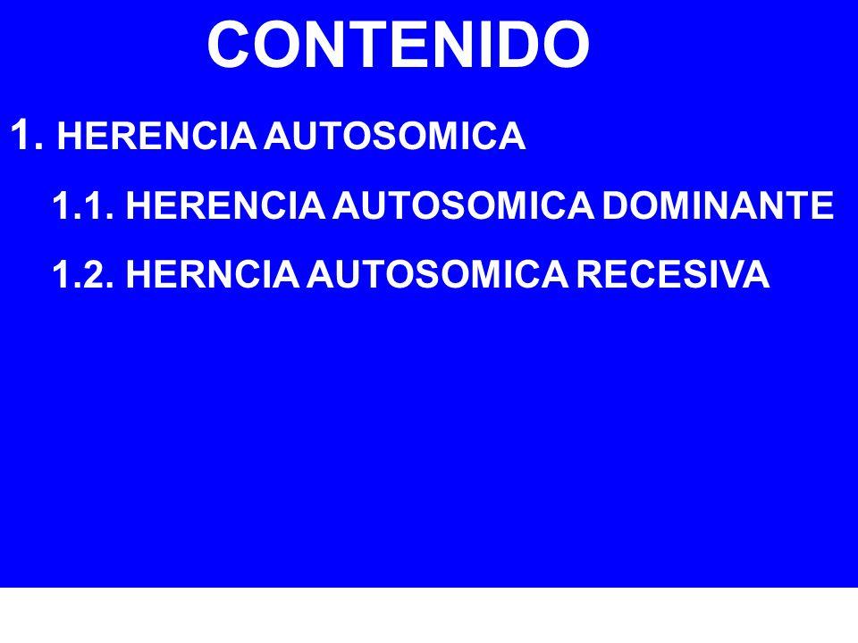 CONTENIDO 1. HERENCIA AUTOSOMICA 1.1. HERENCIA AUTOSOMICA DOMINANTE