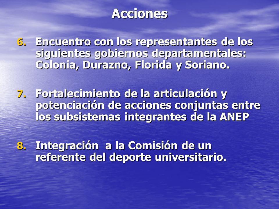 Acciones Encuentro con los representantes de los siguientes gobiernos departamentales: Colonia, Durazno, Florida y Soriano.