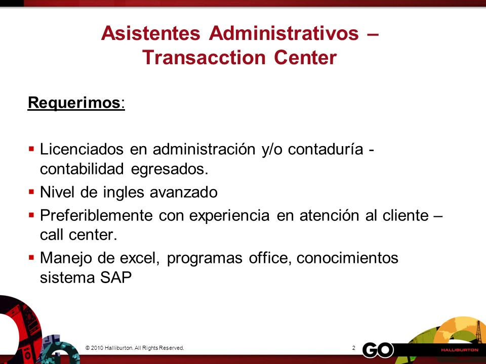 Asistentes Administrativos – Transacction Center