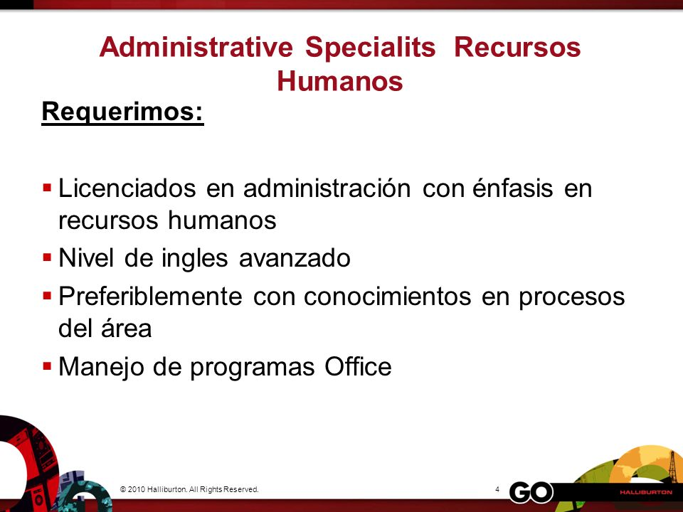 Administrative Specialits Recursos Humanos