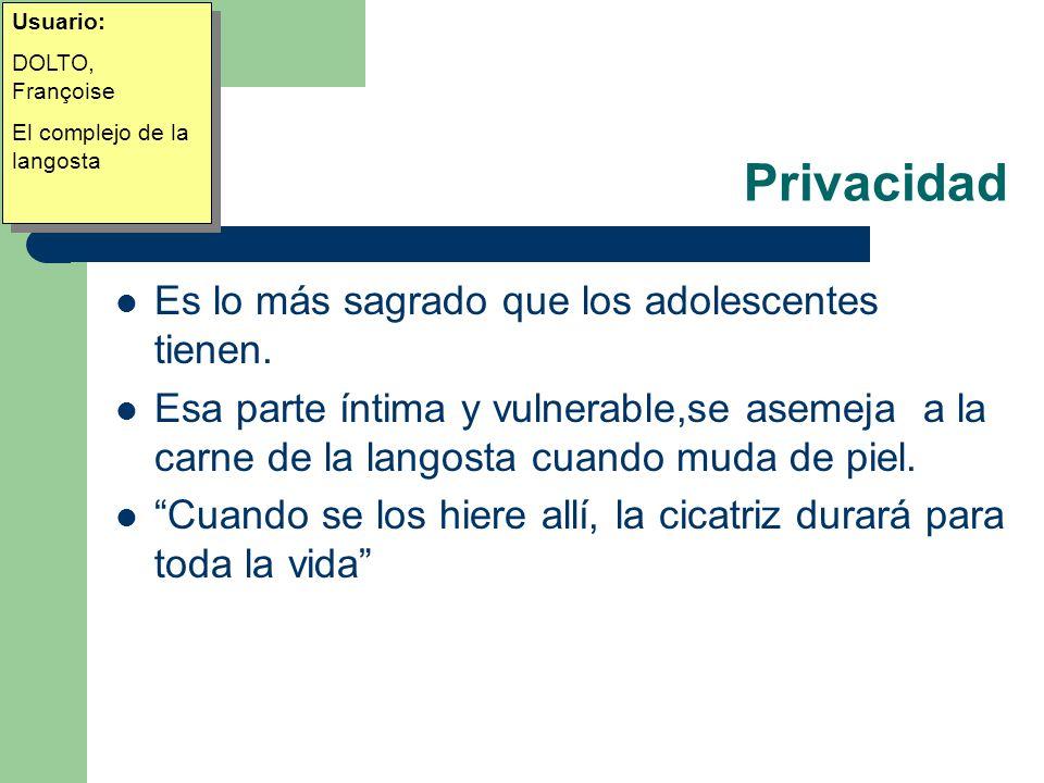 Privacidad Es lo más sagrado que los adolescentes tienen.