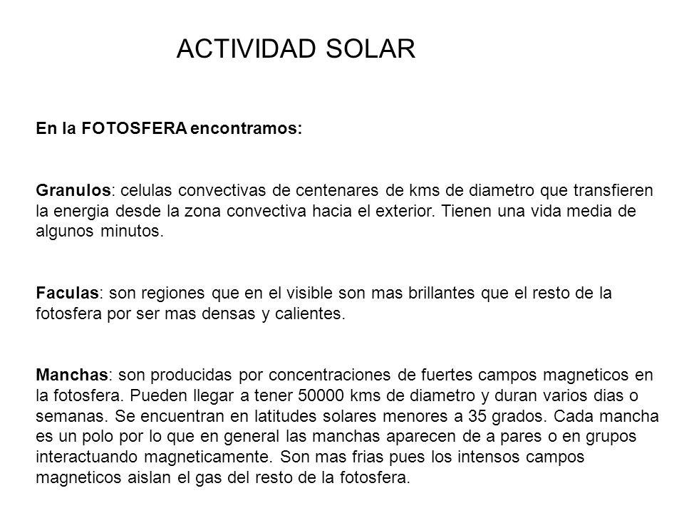 ACTIVIDAD SOLAR En la FOTOSFERA encontramos: