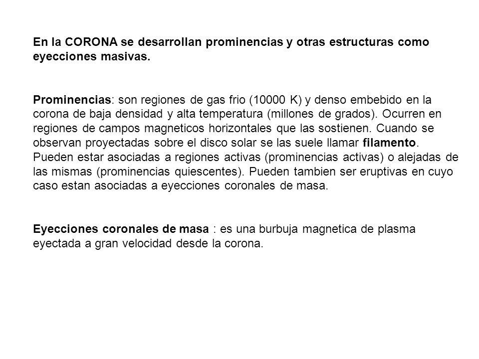 En la CORONA se desarrollan prominencias y otras estructuras como eyecciones masivas.