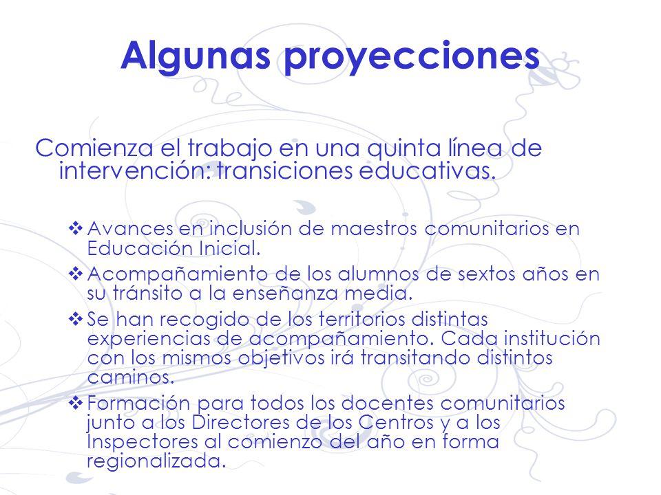 Algunas proyecciones Comienza el trabajo en una quinta línea de intervención: transiciones educativas.
