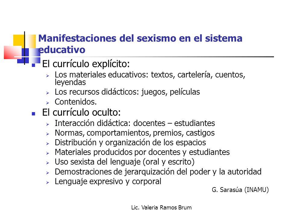 Manifestaciones del sexismo en el sistema educativo