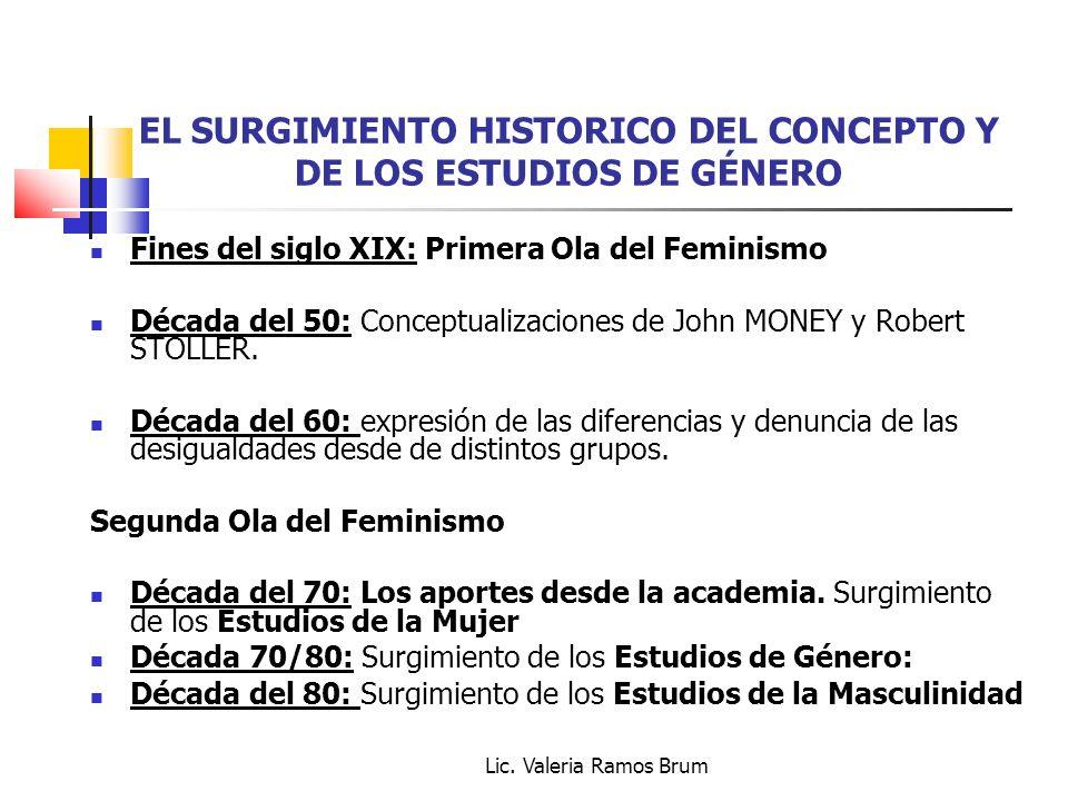 EL SURGIMIENTO HISTORICO DEL CONCEPTO Y DE LOS ESTUDIOS DE GÉNERO