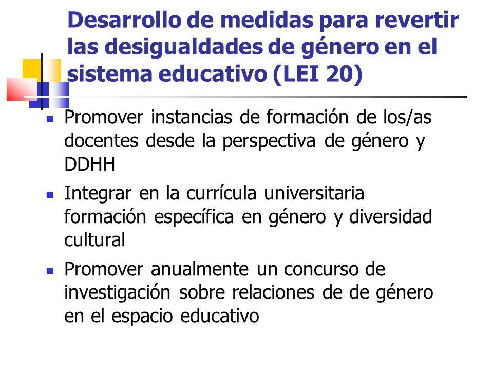 Desarrollo de medidas para revertir las desigualdades de género en el sistema educativo (LEI 20)