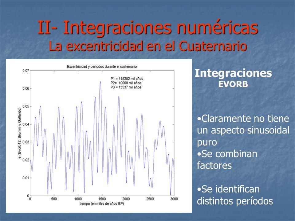 II- Integraciones numéricas La excentricidad en el Cuaternario