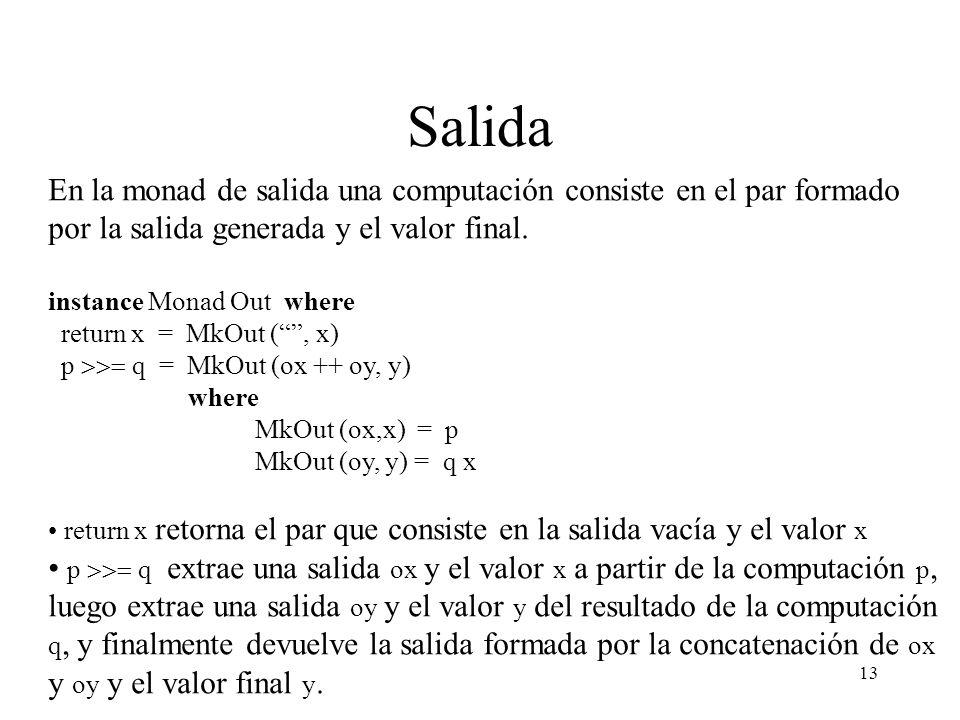 Salida En la monad de salida una computación consiste en el par formado por la salida generada y el valor final.