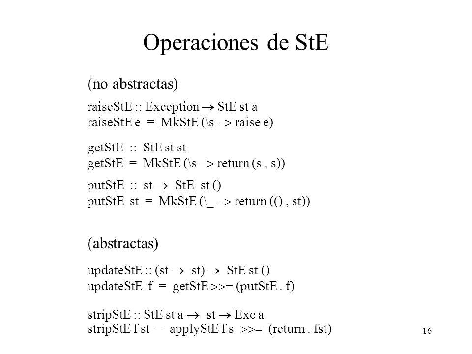Operaciones de StE (no abstractas) (abstractas)