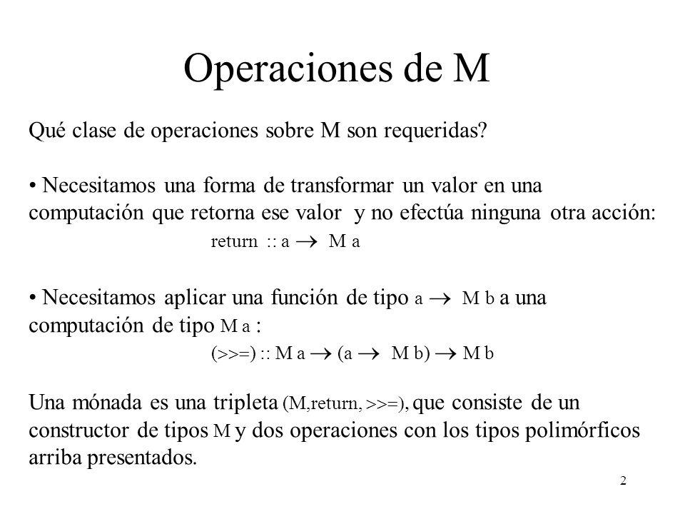 Operaciones de M Qué clase de operaciones sobre M son requeridas