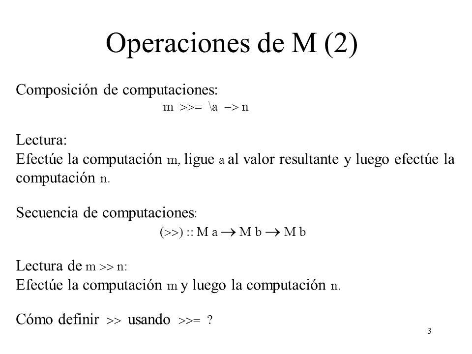 Operaciones de M (2) Composición de computaciones: Lectura: