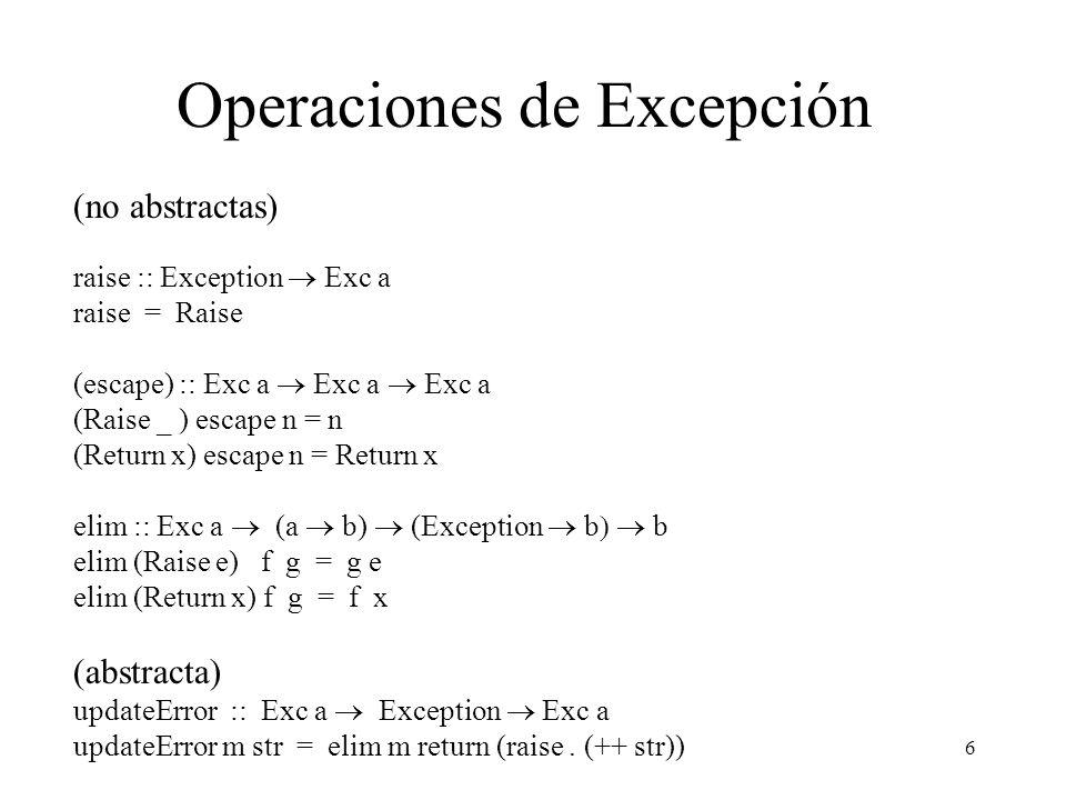 Operaciones de Excepción
