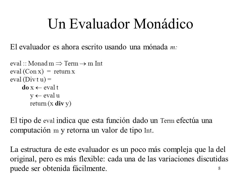 Un Evaluador Monádico El evaluador es ahora escrito usando una mónada m: eval :: Monad m  Term  m Int.