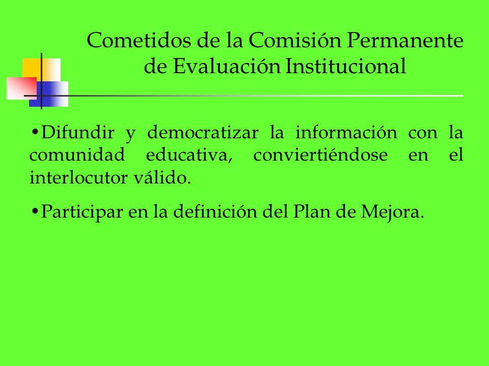 Cometidos de la Comisión Permanente de Evaluación Institucional