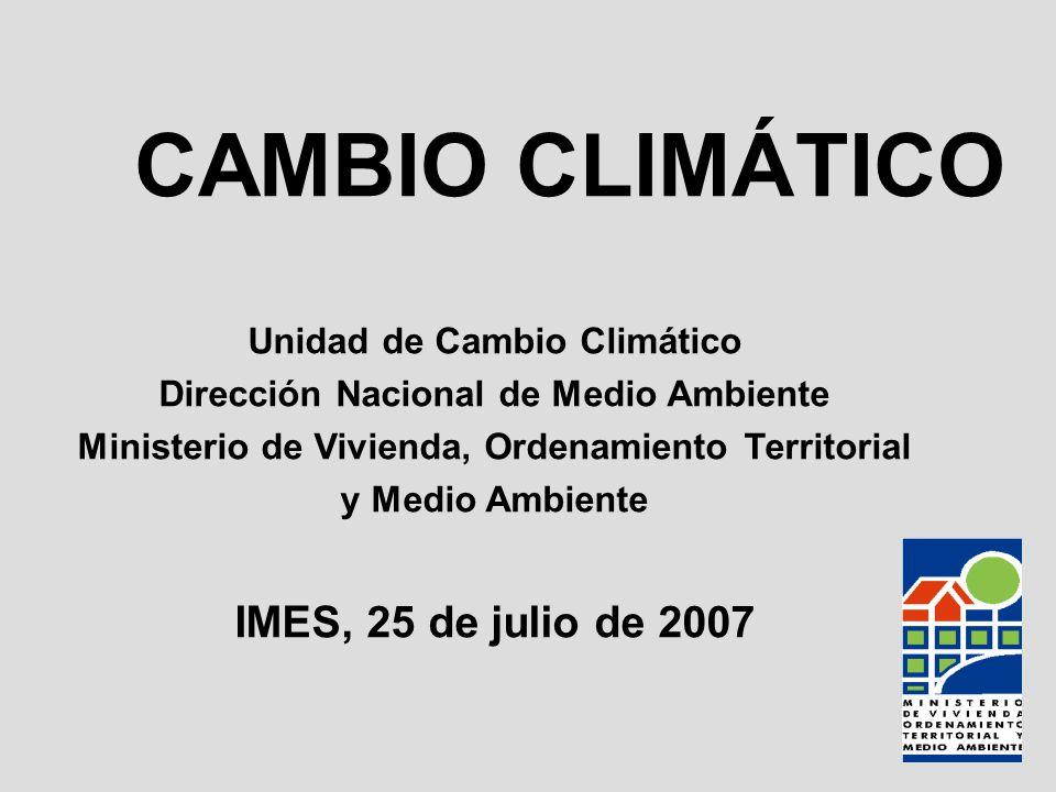 CAMBIO CLIMÁTICO IMES, 25 de julio de 2007 Unidad de Cambio Climático