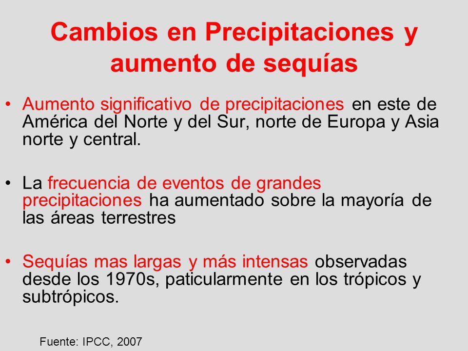 Cambios en Precipitaciones y aumento de sequías