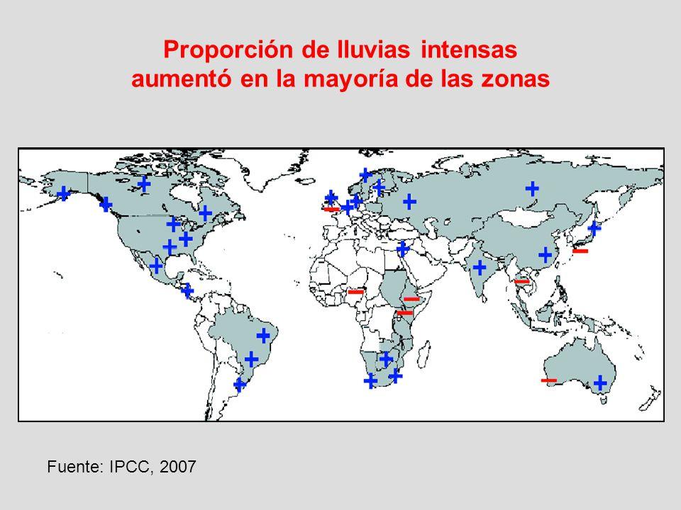 Proporción de lluvias intensas aumentó en la mayoría de las zonas