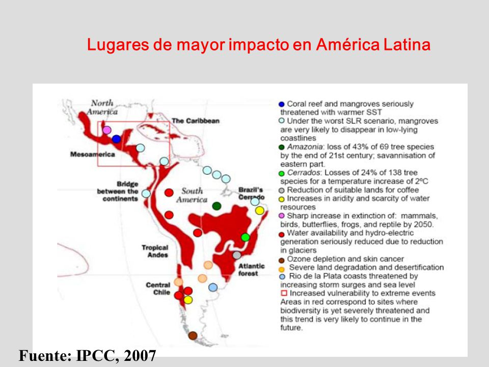 Lugares de mayor impacto en América Latina