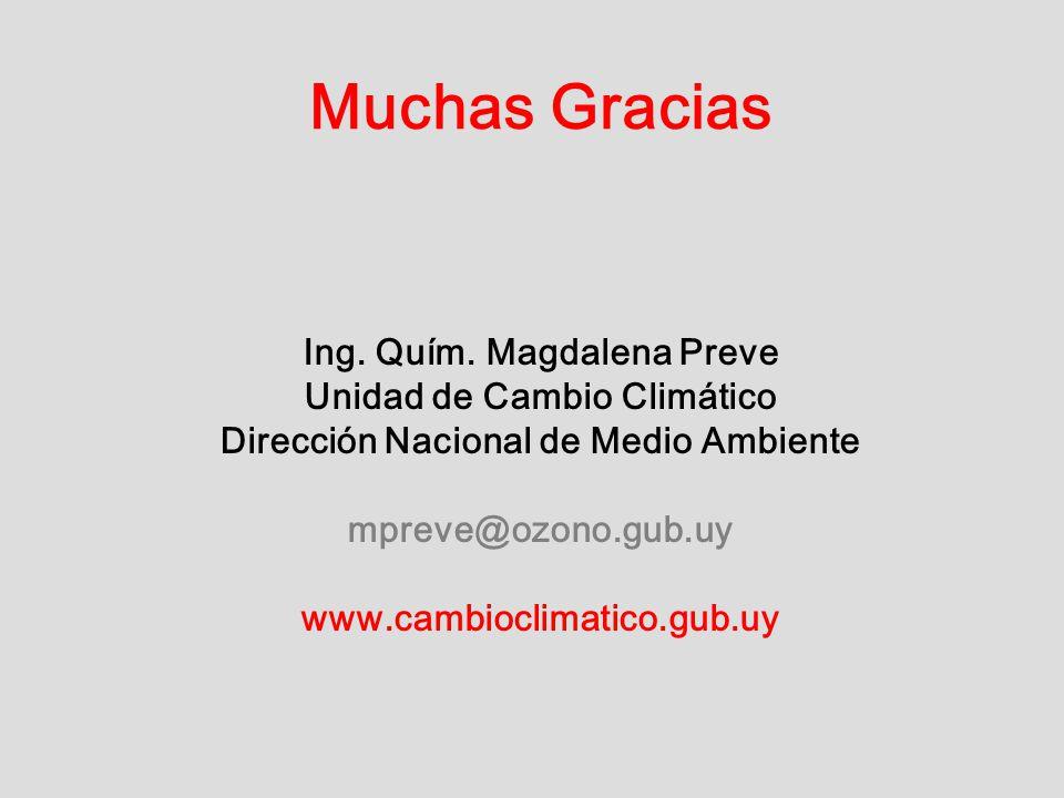 Muchas Gracias Ing. Quím. Magdalena Preve Unidad de Cambio Climático