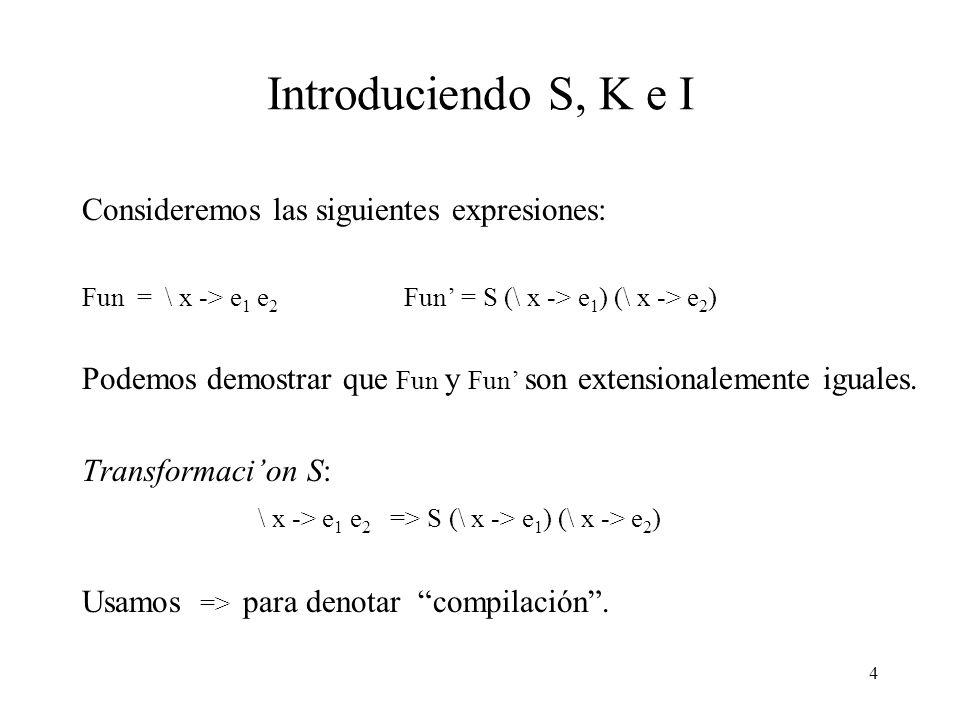 Introduciendo S, K e I Consideremos las siguientes expresiones: