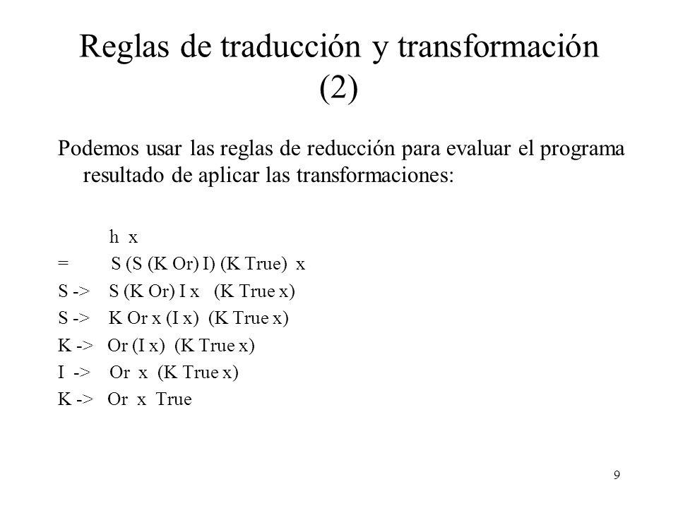 Reglas de traducción y transformación (2)