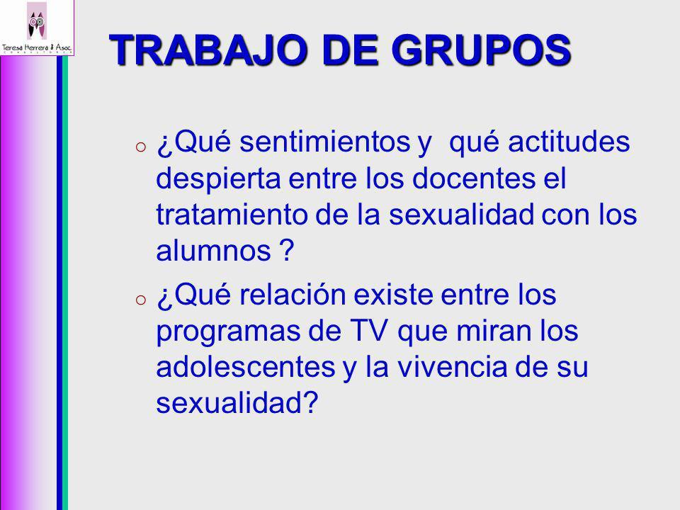 TRABAJO DE GRUPOS ¿Qué sentimientos y qué actitudes despierta entre los docentes el tratamiento de la sexualidad con los alumnos