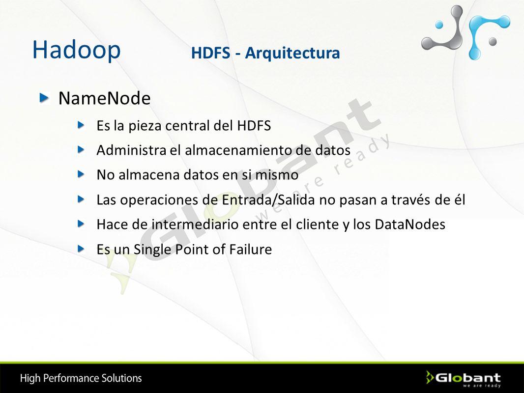 Hadoop NameNode HDFS - Arquitectura Es la pieza central del HDFS