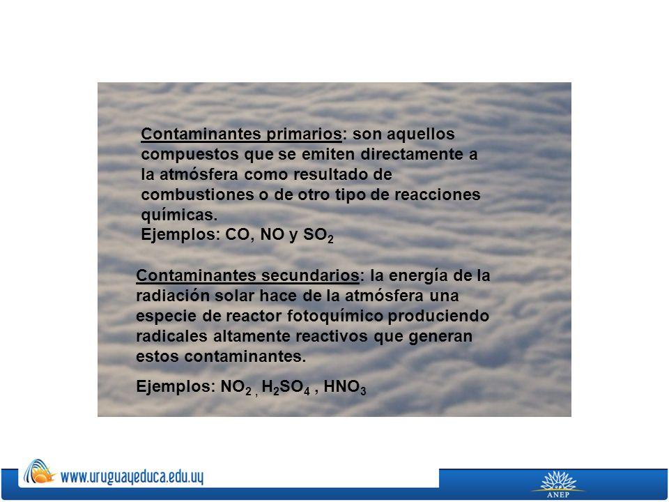 Contaminantes primarios: son aquellos compuestos que se emiten directamente a la atmósfera como resultado de combustiones o de otro tipo de reacciones químicas. Ejemplos: CO, NO y SO2