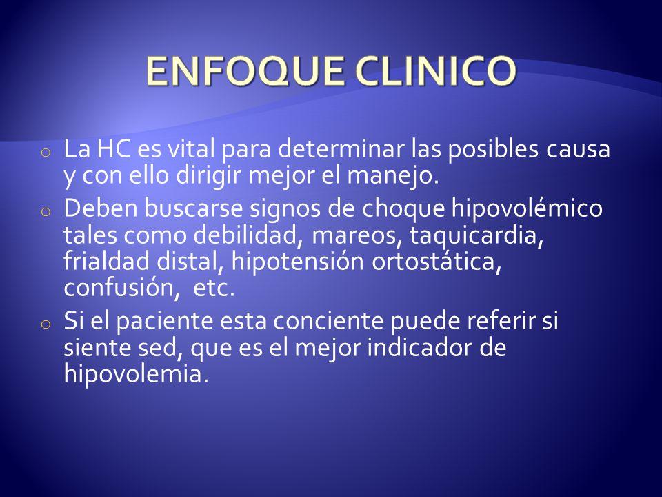 ENFOQUE CLINICO La HC es vital para determinar las posibles causa y con ello dirigir mejor el manejo.