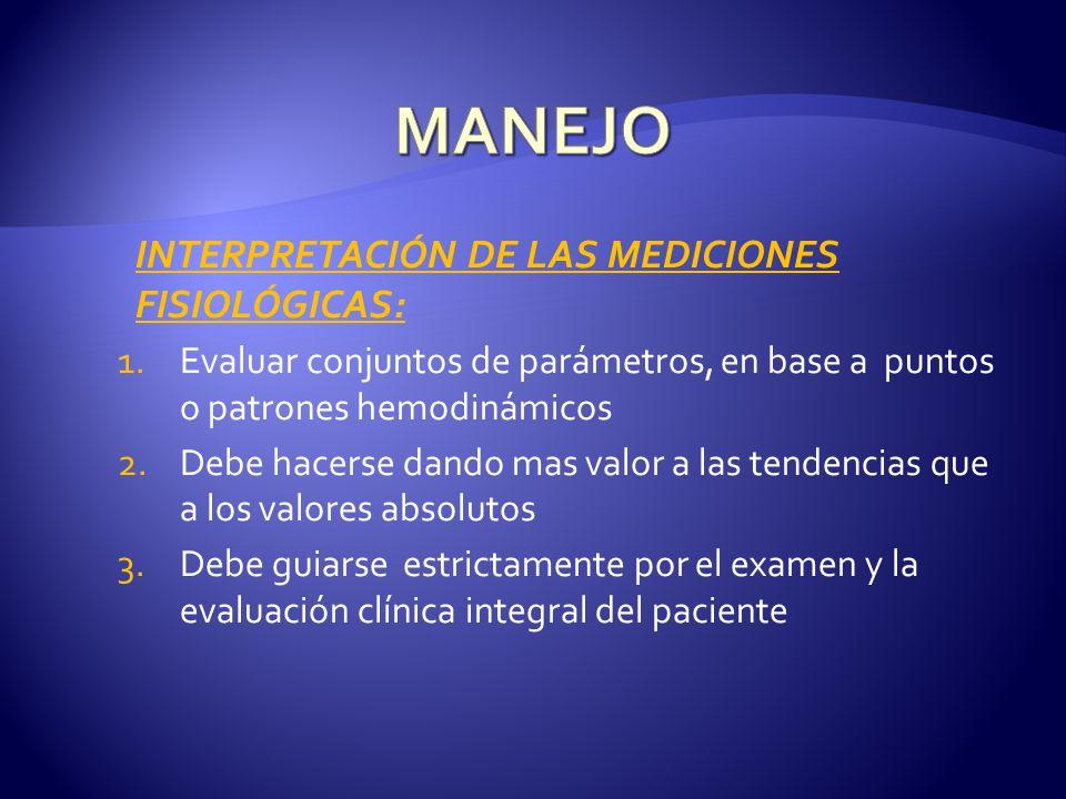 MANEJO INTERPRETACIÓN DE LAS MEDICIONES FISIOLÓGICAS: