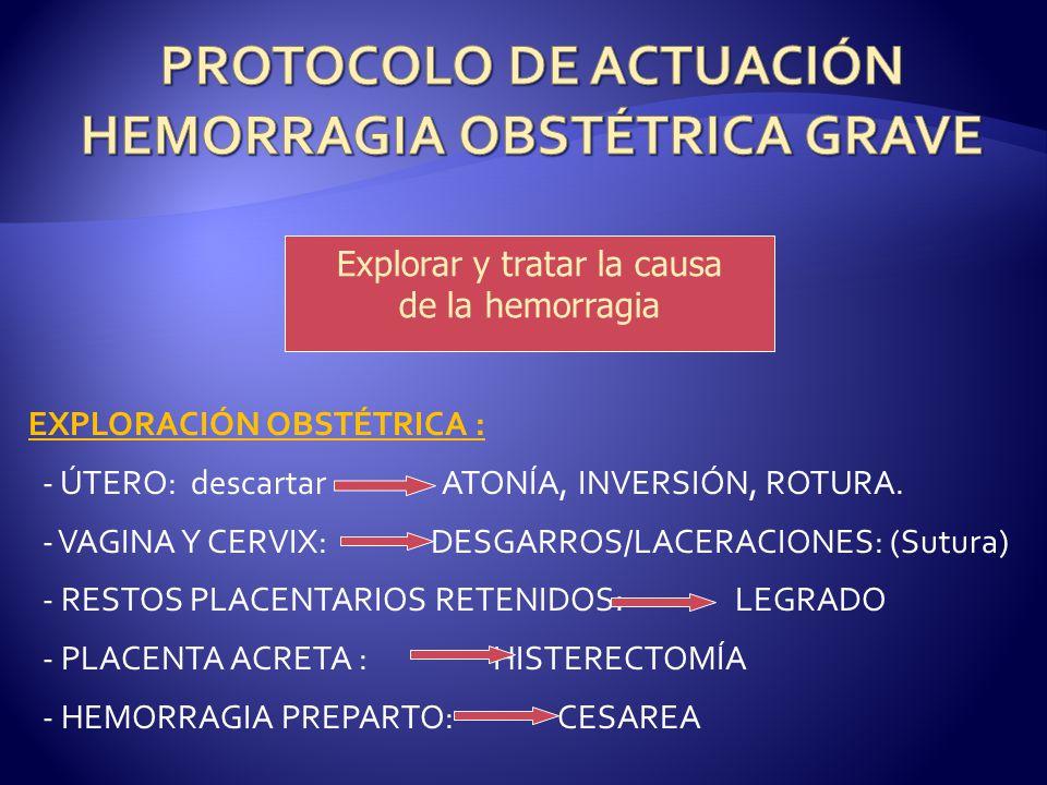 PROTOCOLO DE ACTUACIÓN HEMORRAGIA OBSTÉTRICA GRAVE