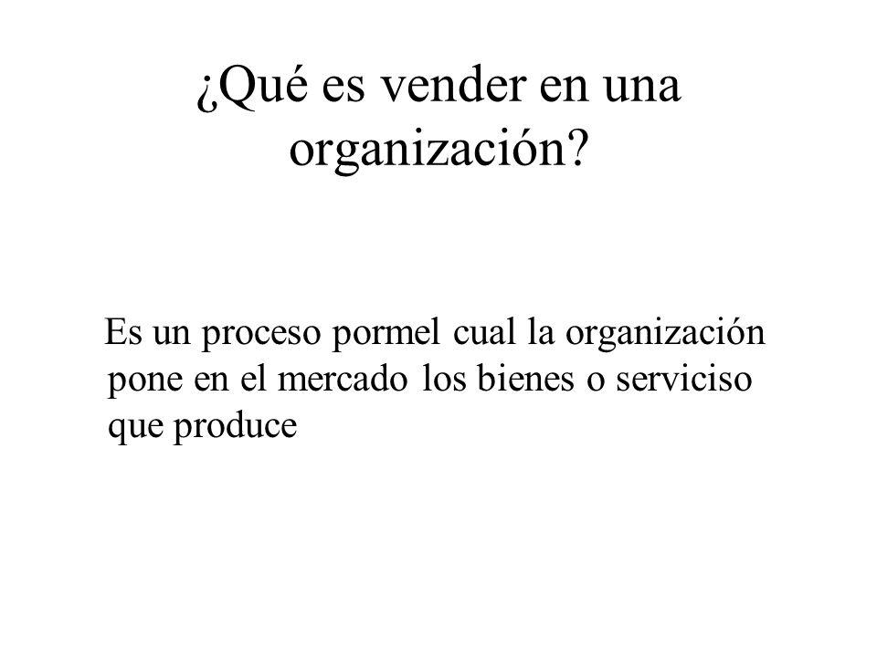 ¿Qué es vender en una organización