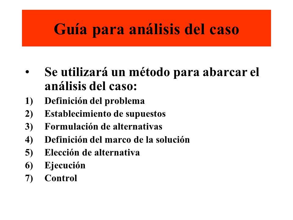 Guía para análisis del caso