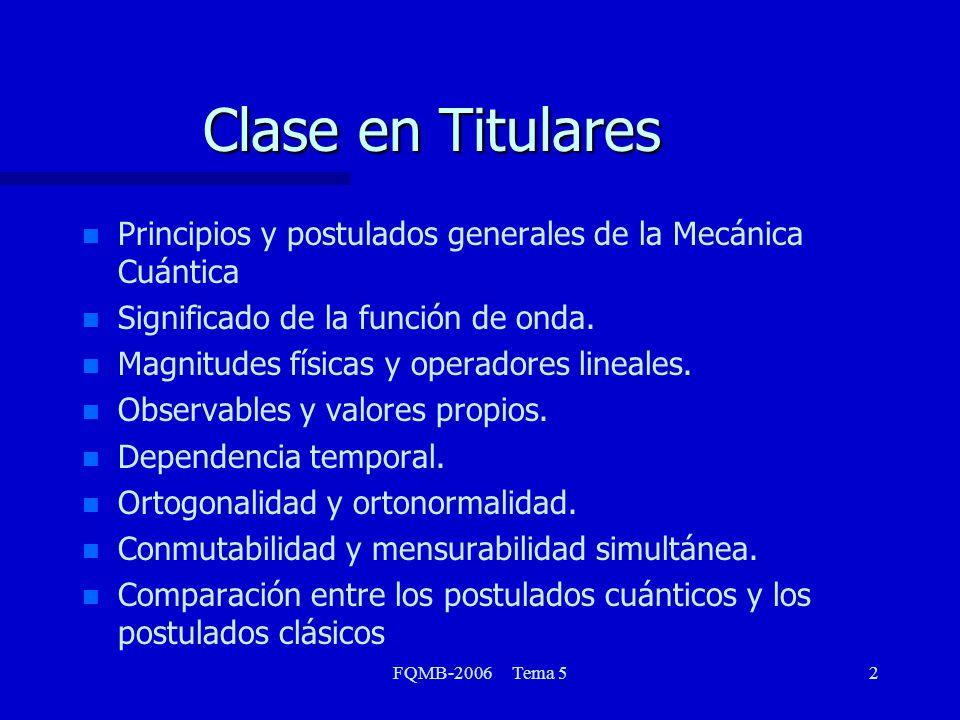 Clase en Titulares Principios y postulados generales de la Mecánica Cuántica. Significado de la función de onda.