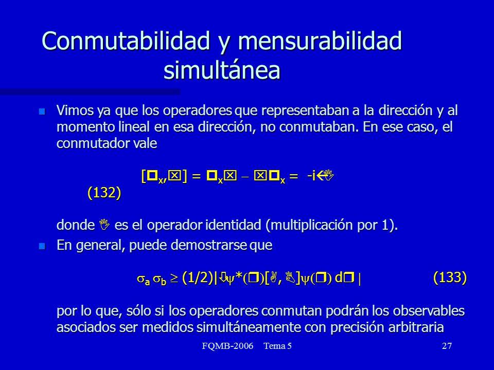 Conmutabilidad y mensurabilidad simultánea