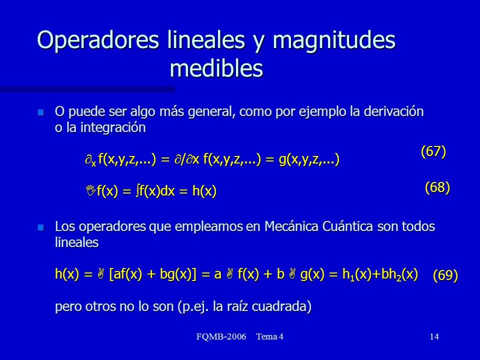 Operadores lineales y magnitudes medibles