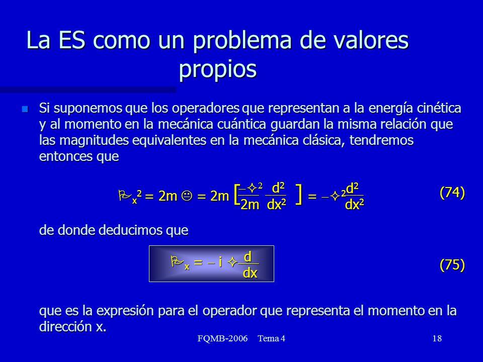La ES como un problema de valores propios