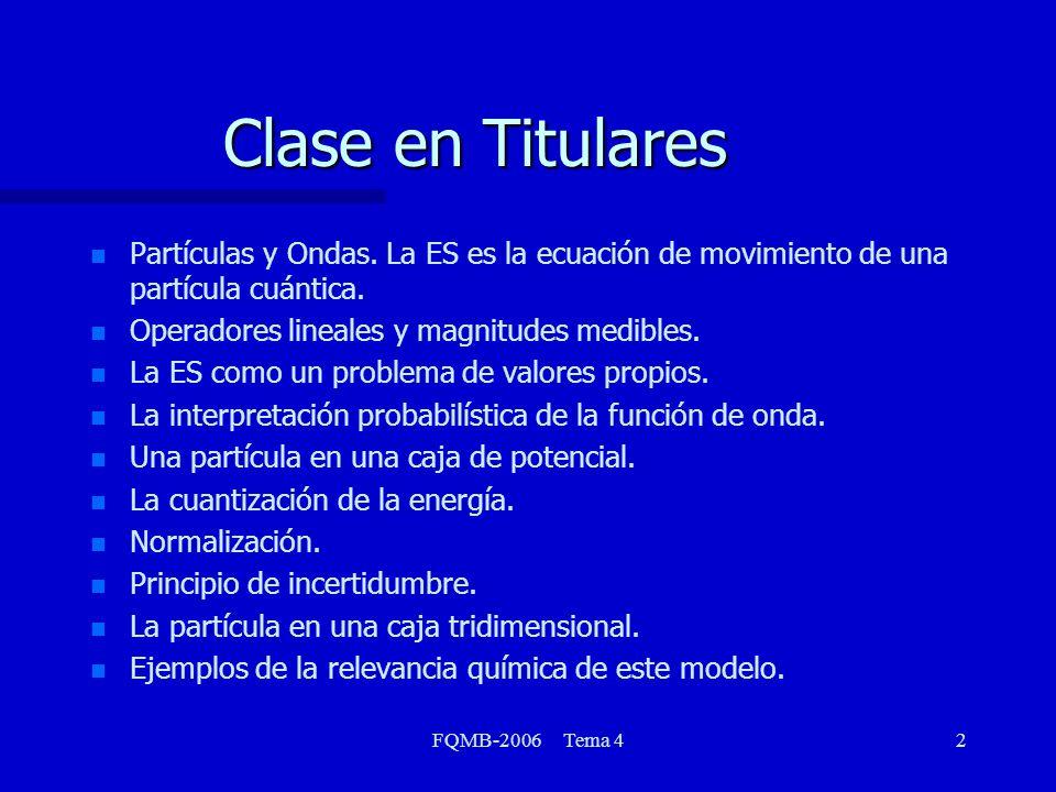 Clase en Titulares Partículas y Ondas. La ES es la ecuación de movimiento de una partícula cuántica.
