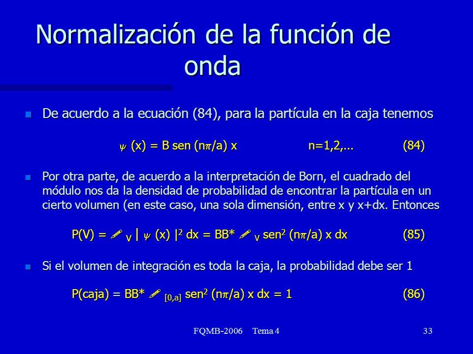 Normalización de la función de onda