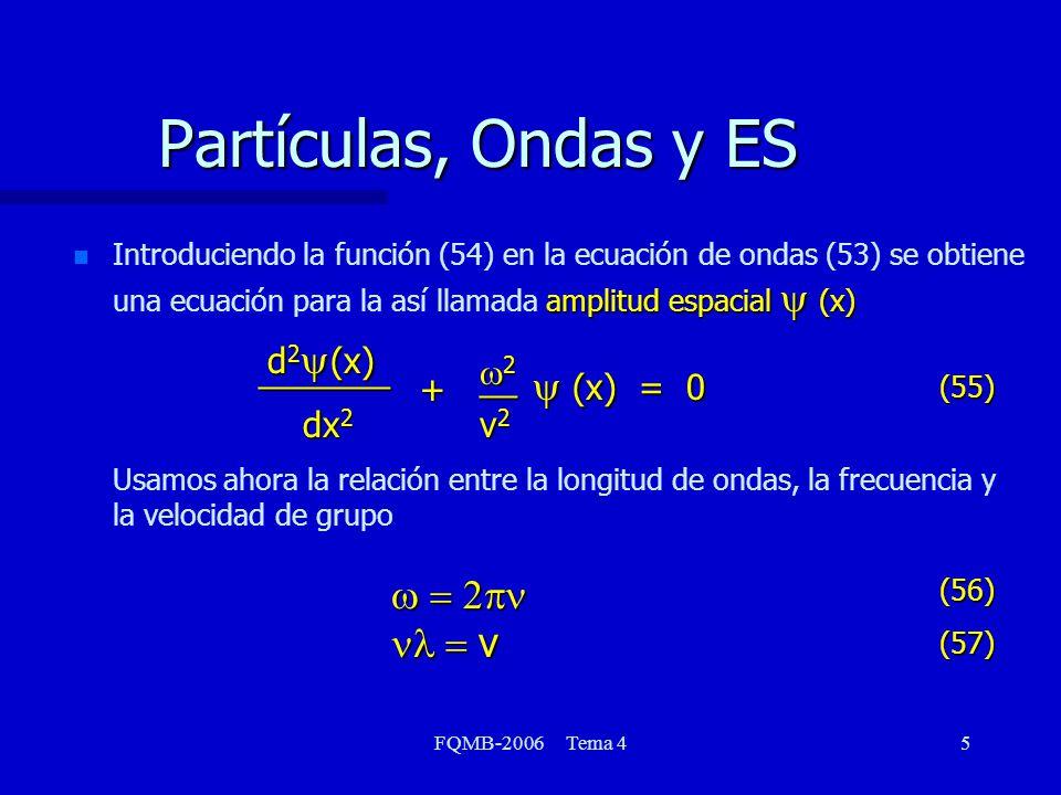 Partículas, Ondas y ES y (x) = 0 d2y(x) _______ w2 __ + dx2 v2
