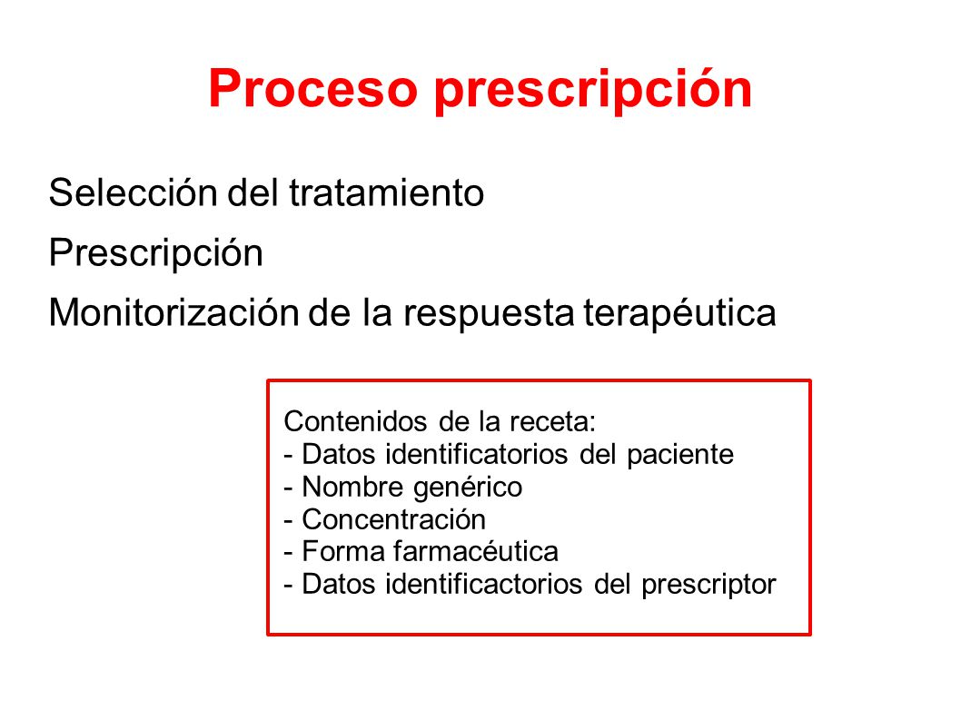 Proceso prescripción Selección del tratamiento Prescripción Monitorización de la respuesta terapéutica