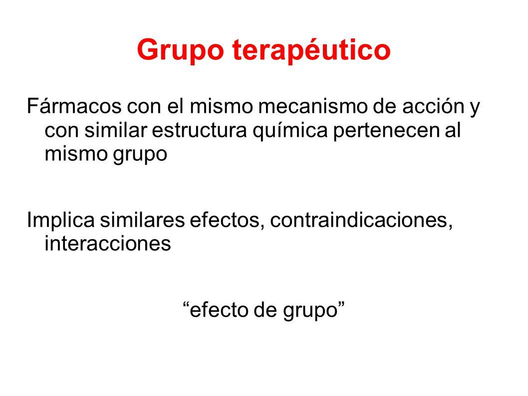 Grupo terapéutico Fármacos con el mismo mecanismo de acción y con similar estructura química pertenecen al mismo grupo.