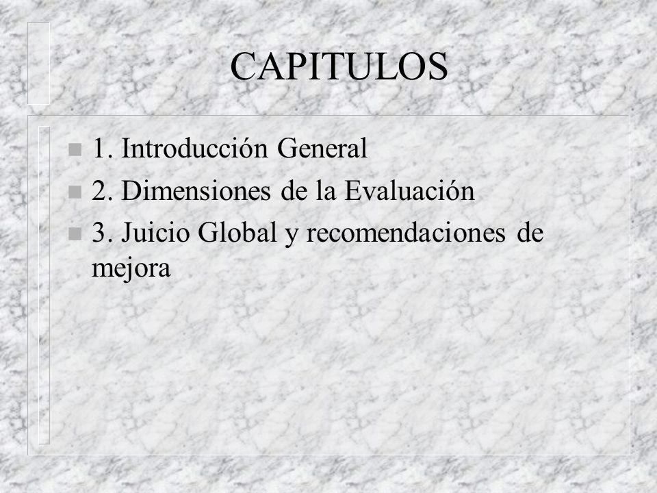 CAPITULOS 1. Introducción General 2. Dimensiones de la Evaluación