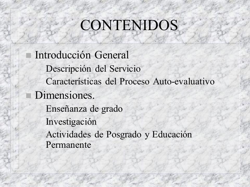 CONTENIDOS Introducción General Dimensiones. Descripción del Servicio